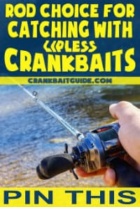 "Baitcasting rod being held in a fisherman's hand on the river, with text overlay ""Rod choice for catching with lipless crankbaits"""
