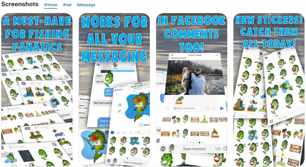screenshots from bass fishing emoji app